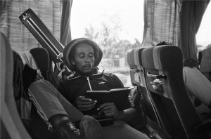 Bob Marley on Bus reading bible MILAN, 1980