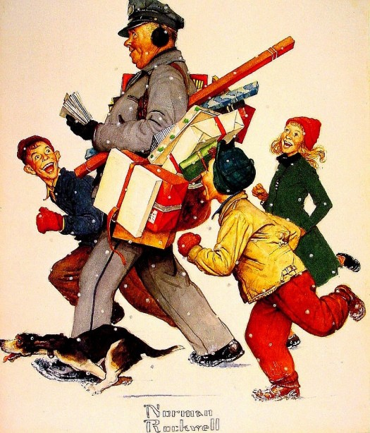 Norman RockwellChristmas postman, early 1950s
